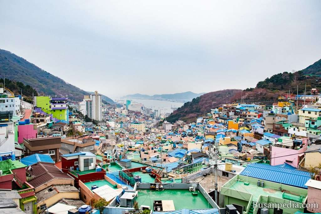 View of Gamcheon Culture Village and Busan South Port