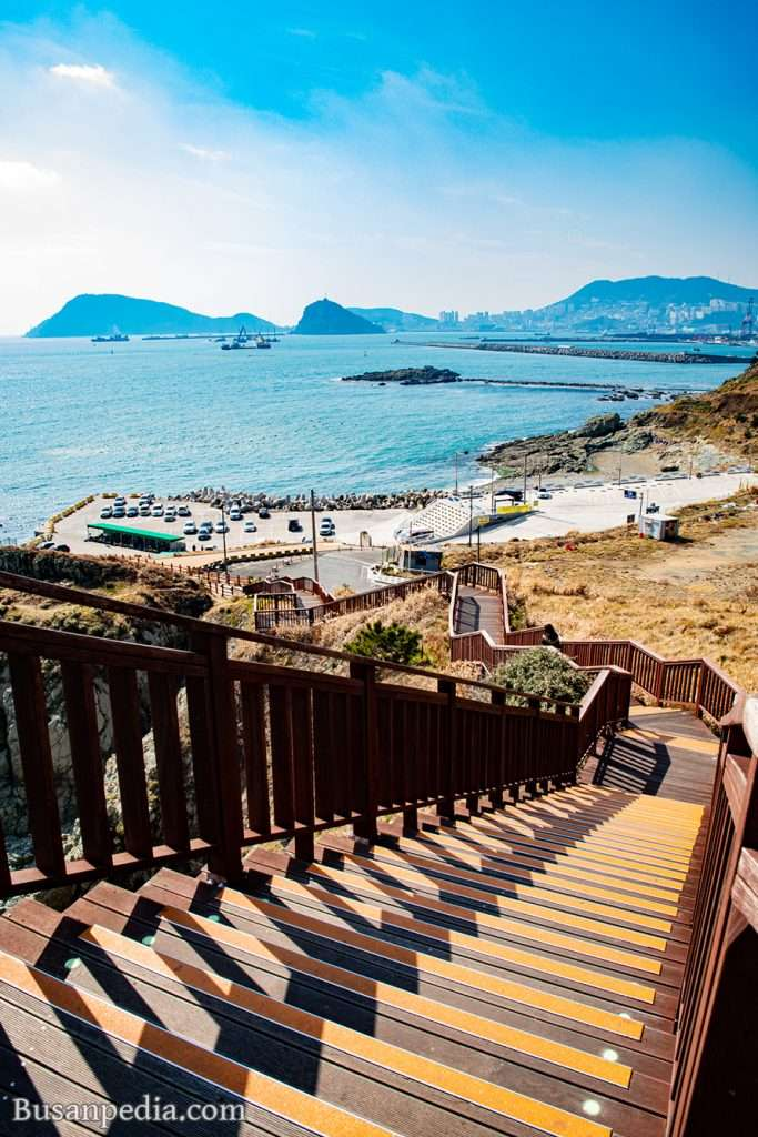 View of Yeongdo from a trail at Oryukdo Skywalk in Busan, South Korea