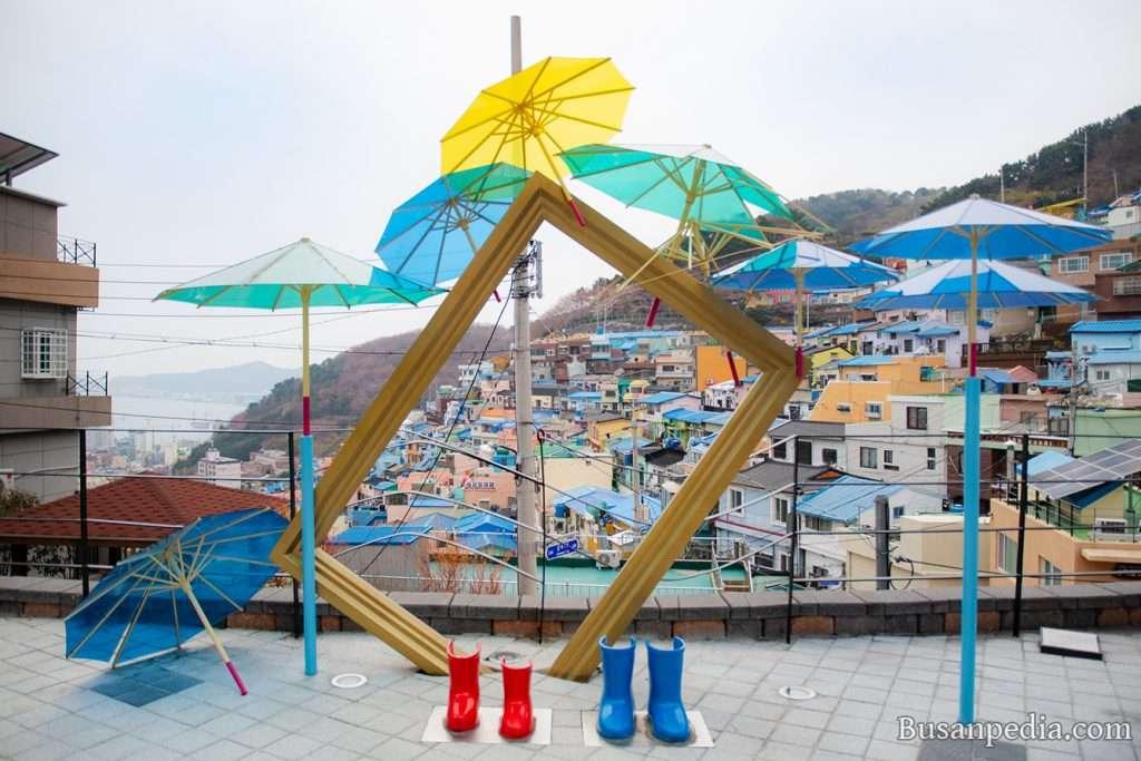 Umbrella photo zone at Gamcheon Culture Village, Busan, Korea