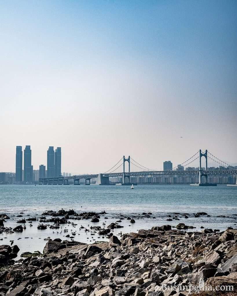 Gwangan Bridge and W Apartments from Nurimaru, Busan, South Korea