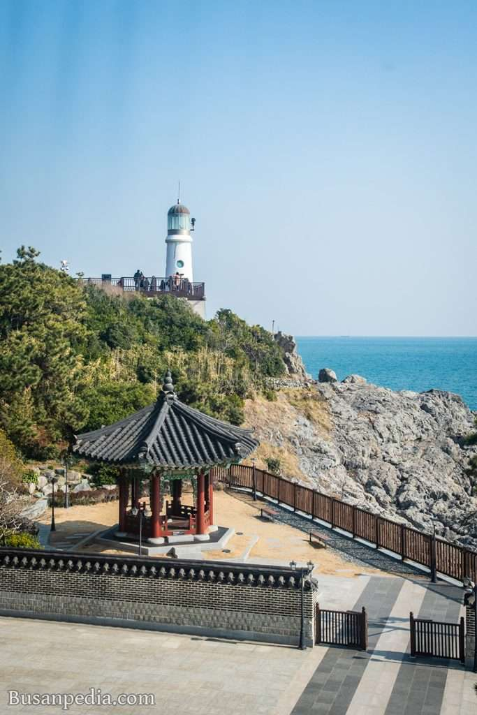 Pavilion and light house in Dongbaek Island
