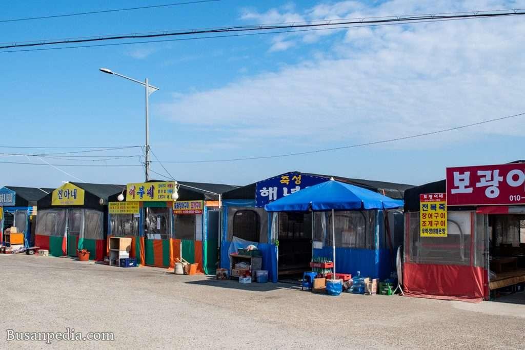 pojangmacha along Gijang seaside in Busan