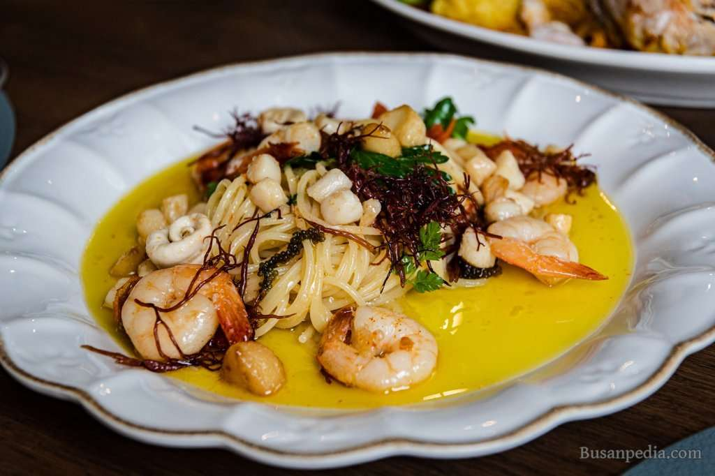 Shrimp pasta at Chinnmeal in Busan, South Korea